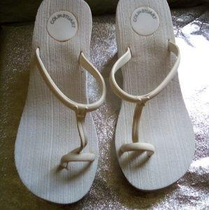 VS White Wedges Sandal Heels 7